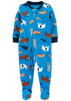 Carter's Toddler Boys 1-Pc. Animal-Print Fleece Footie Pajamas