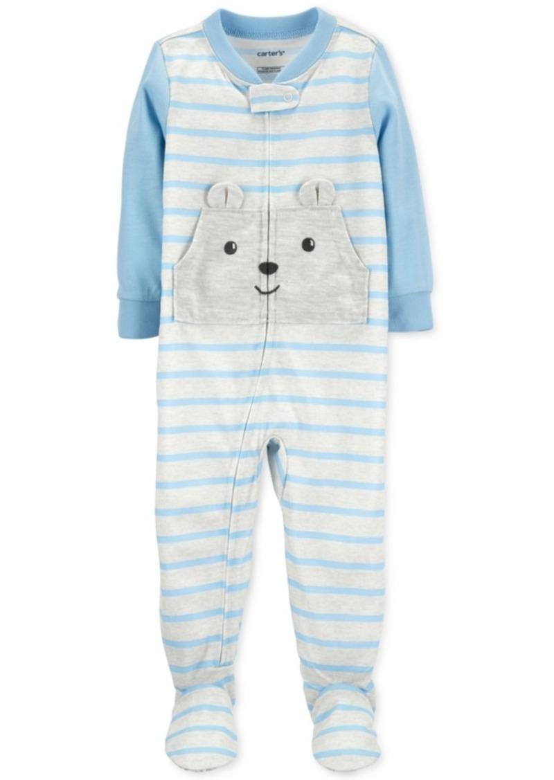 Carter's Toddler Boys 1-Pc. Striped Bear Footed Pajamas