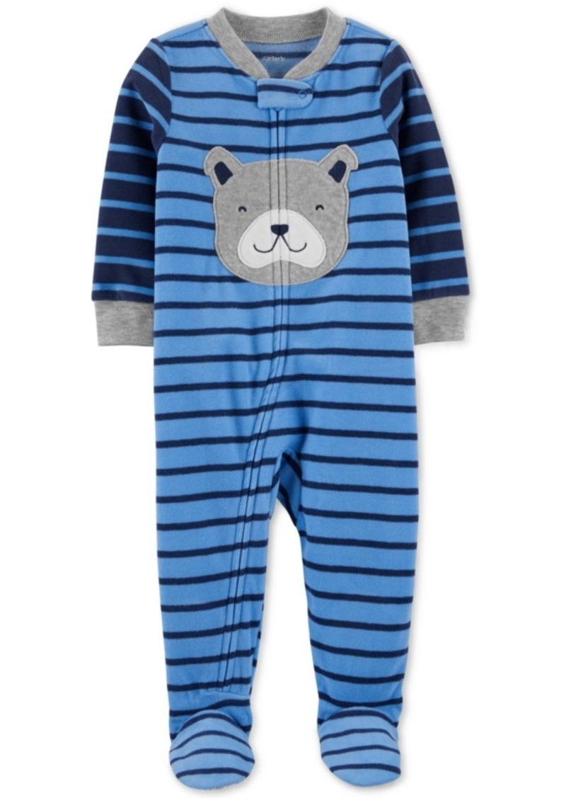 Carter's Toddler Boys 1-Pc. Striped Dog Fleece Footed Pajamas