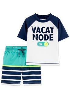 Carter's Toddler Boys 2-Pc. Vacay Mode Rash Guard & Striped Swim Trunks Set