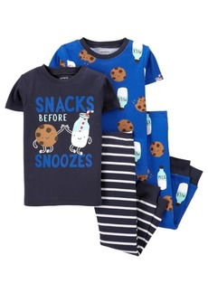 Carter's Toddler Boys 4 Piece Milk Cookies Snug Fit Pajama Set