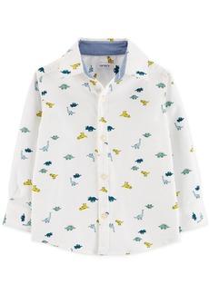 Carter's Toddler Boys Dinosaur-Print Oxford Button-Front Cotton Shirt