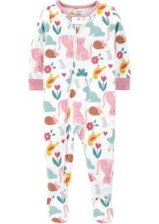 Carter's Toddler Girl 1-Piece Animal Fleece Footie PJs