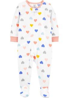 Carter's Toddler Girl 1-Piece Heart Fleece Footie PJs