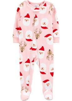 Carter's Toddler Girl 1-Piece Santa Fleece Footie PJs