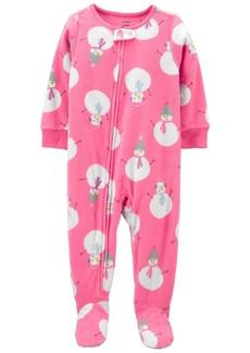 Carter's Toddler Girl 1-Piece Snowman Fleece Footie PJs