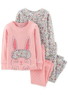 Carter's Toddler Girls 4-Pc. Bunny & Floral-Print Cotton Pajamas