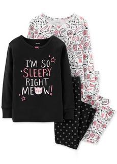 Carter's Toddler Girls 4-Pc. Kitty & Floral-Print Cotton Pajamas Set