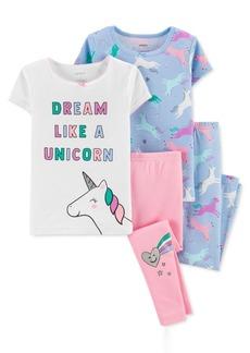 Carter's Toddler Girls 4-Pc. Unicorn Cotton Pajamas Set