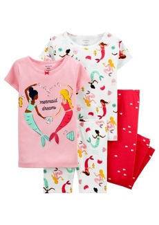 Carter's Toddler Girls 4 Piece Mermaid Snug Fit Pajama Set