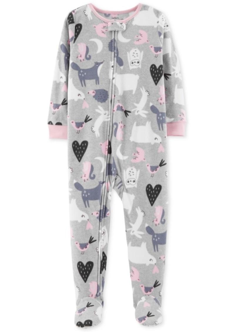 9b9e24bb0 Carter s Carter s Toddler Girls Animal-Print Footed Fleece Pajamas ...