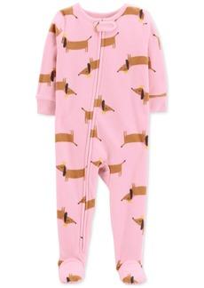 Carter's Toddler Girls Dog-Print Fleece Footed Pajamas
