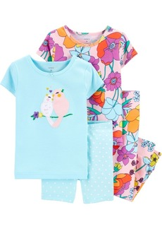 Carter's Toddler Girls Floral Birds Snug Fit Pajamas, 4 Piece