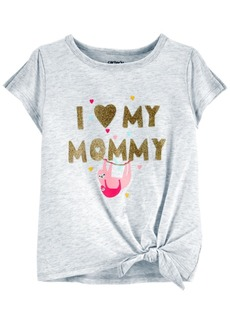 Carter's Toddler Girls Glitter Mommy Sloth Tie-Front Jersey Tee