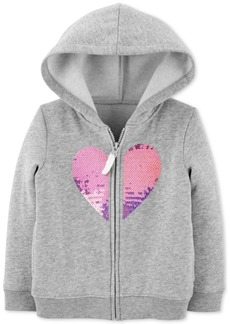Carter's Toddler Girls Sequin Heart Zip-Up Fleece Hoodie