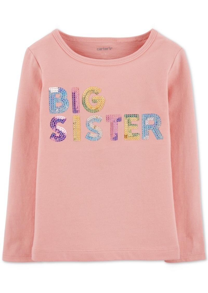 Carter's Toddler Girls Sequinned Big Sister-Print Cotton T-Shirt