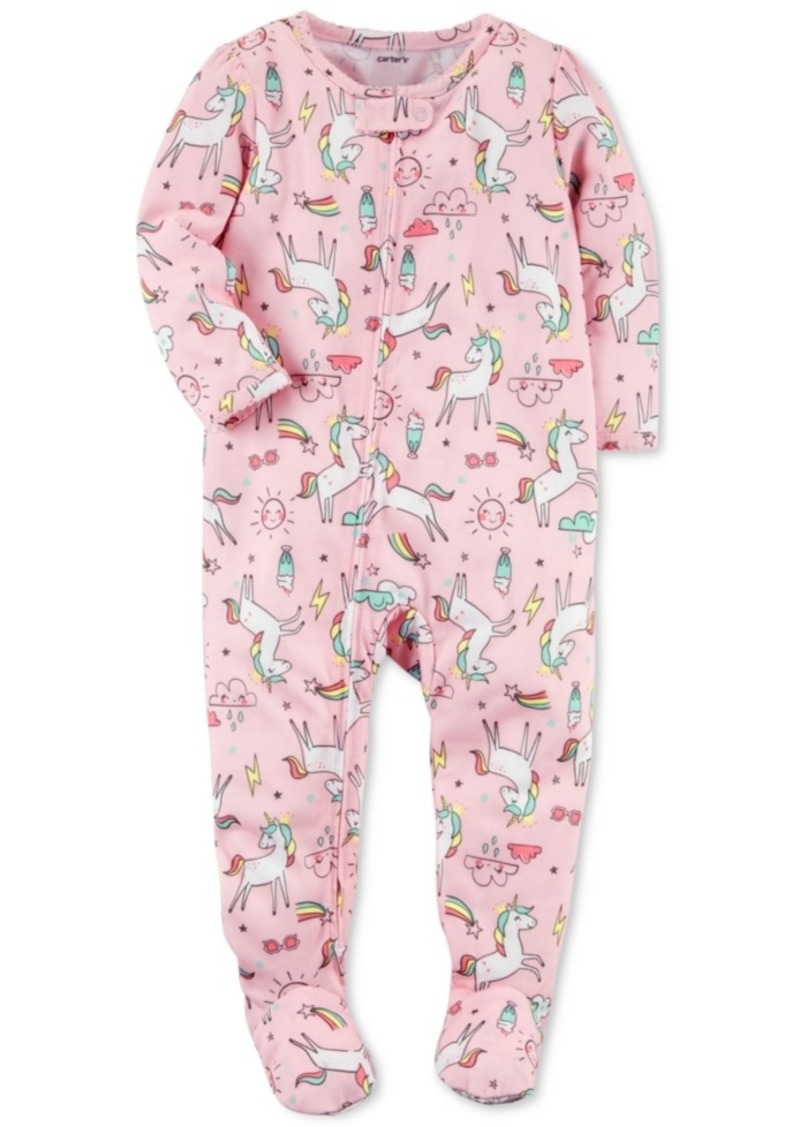 dfecd053e Carter's Carter's Unicorn-Print Footed Pajamas, Baby Girls | Sleepwear