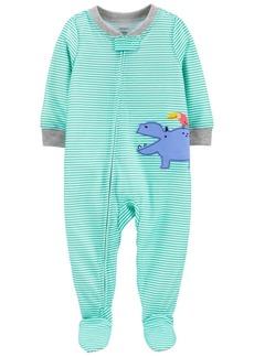 Carter's Toddler Boys 1-Piece Hippo Loose Fit Footie Pajamas