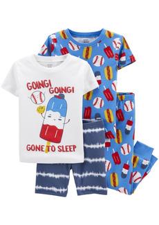 Carter's Toddler Boys Baseball Snug Fit Pajama, 4 Piece Set