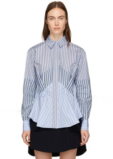 Carven Blue Stripe Mix Shirt