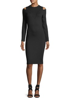 Carven Ballerina Long-Sleeve Fitted Jersey Dress