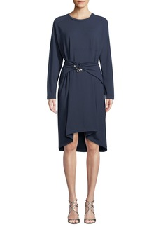 Carven Belted Long-Sleeve Crewneck Dress