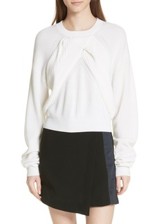 Carven Cable Knit Panel Merino Wool Sweater