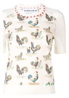Carven cockerel patterned T-shirt - Nude & Neutrals