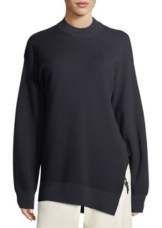 Carven Crewneck Oversized Merino Wool Sweater with Slit Detail