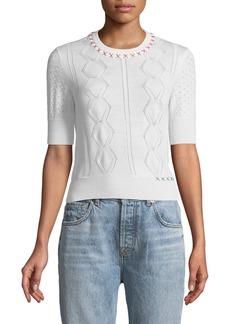 Carven Cross-Stitch Half-Sleeve Wool Sweater