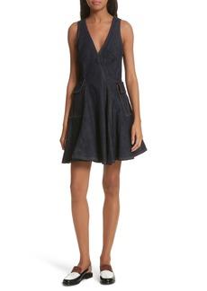 Carven Fit & Flare Denim Dress