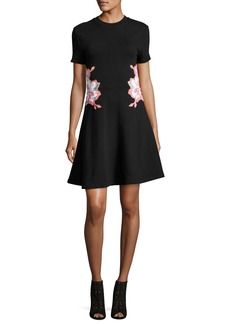 Carven Floral Embroidered Short-Short Mini Dress