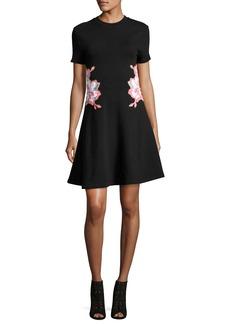 Carven Floral Embroidered Short-Short Mini Dress