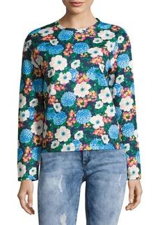 Carven Floral-Print Long-Sleeve Sweatshirt