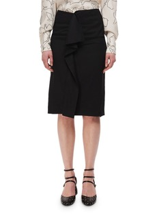 Carven High-Rise Deconstructed Pencil Skirt w/ Ruffle