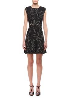 Carven Jewel-Neck Floral-Print Studded Mini Dress