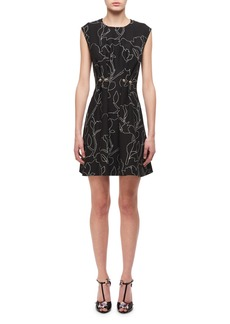 Carven Jewel-Neck Floral-Print Studded Mini Dress