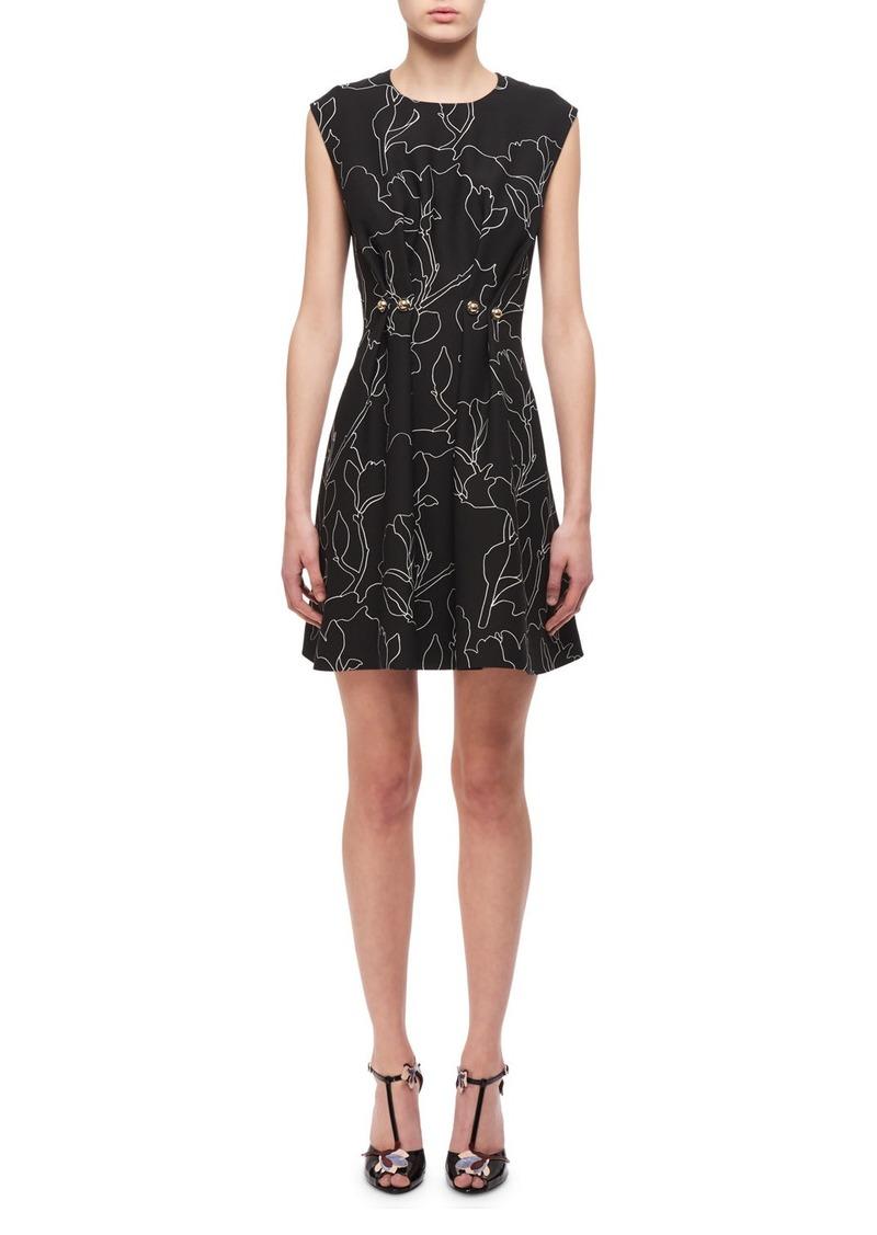 effc74cc1e44 Carven Carven Jewel-Neck Floral-Print Studded Mini Dress Now $137.00