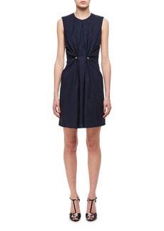 Carven Jewel-Neck Ruched Dress W/ Studs