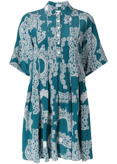 Carven lace pattern pleated dress - Blue