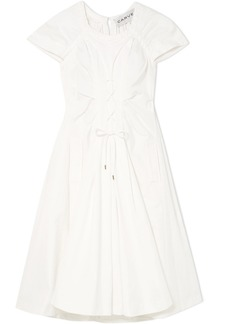 Carven Lace-up cotton-poplin midi dress