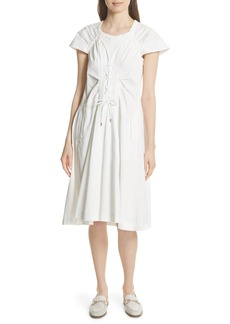 Carven Lace Up Front Poplin Dress