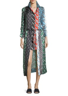 Carven Mixed-Print Long-Sleeve Silk High-Low Dress