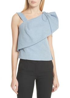 Carven One-Shoulder Cotton & Linen Blend Top