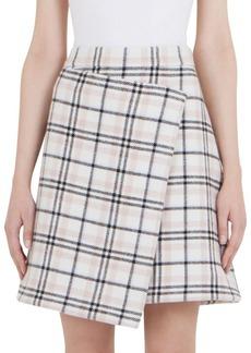 Carven Plaid Asymmetric Wrap Skirt
