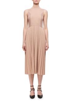 Carven Pleated Metallic Wool-Blend Sleeveless Dress
