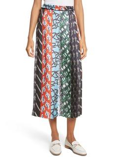 Carven Pleated Mix Print Silk Skirt