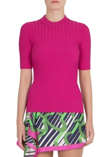 Carven Rib-Knit Crewneck Top