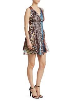 Carven Scarf-Print V-Neck Dress