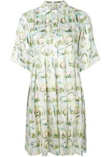Carven sheep print shirt dress - Green